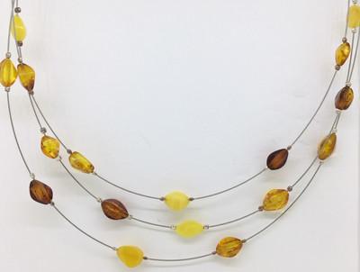 Tri-Color Amber Triple Wire Necklace