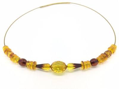 Faceted Amber Wire Necklace