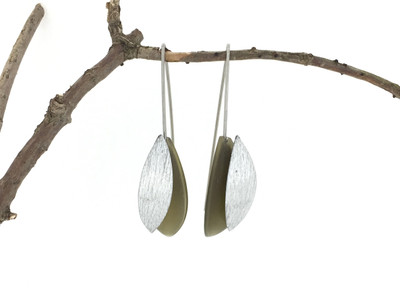 Aluminum Leaf Earrings, Olive Green