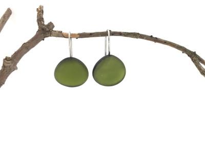 Olive Green Medium Organic Wire Earrings