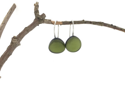 Olive Green Small Organic Wire Earrings