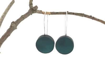 Shaded Spruce Resin Disc Wire Earrings