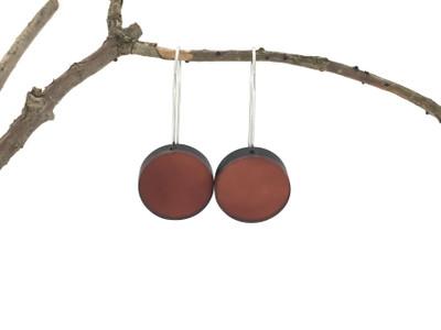 Copper Resin Disc Wire Earrings