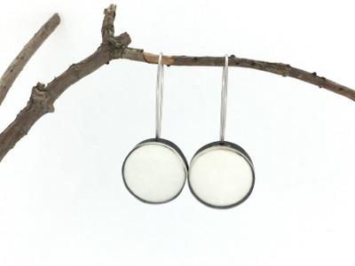 White Resin Disc Wire Earrings