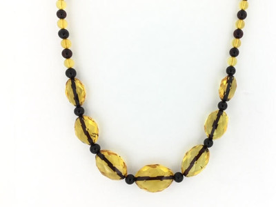 Faceted Amber Beaded Necklace