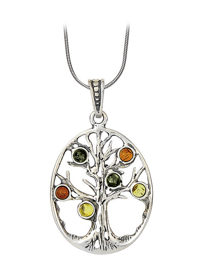 Amber Tree of Life Oval Pendant