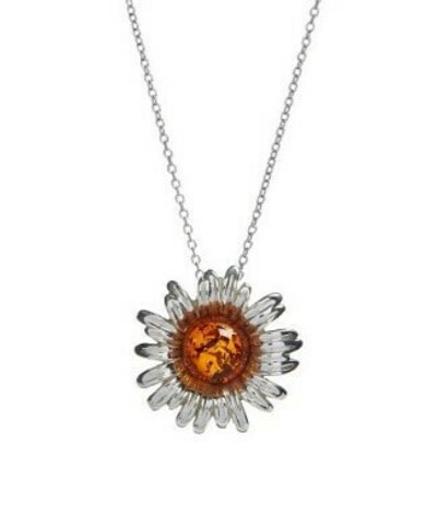 Honey amber daisy pendant, hidden bale.