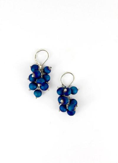 Silver/Blue Cluster Earrings
