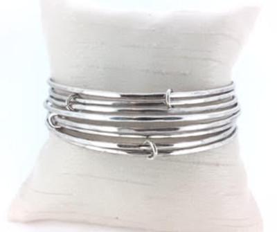 Antique Silver Eight Bangle Bracelet Set