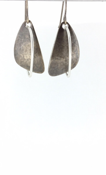 Two-Tone Antique Silver Fish Hook Earrings