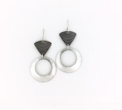 Fish Hook Silver Hoop Earrings