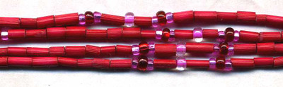 "26"" Handmade African Bead Jewelry Strand in Cherry"