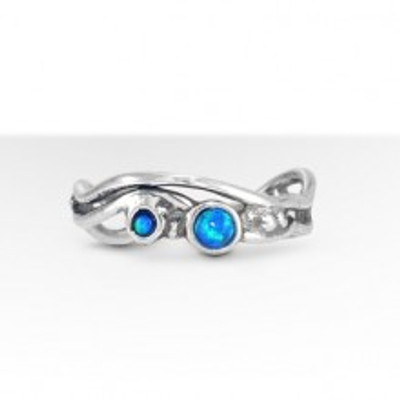 Stackable Silver Ring with Opal, 3 mm, 2 mm