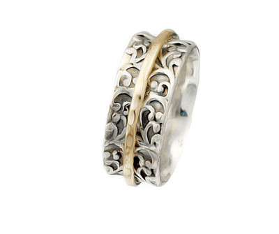 Silver Spinning Ring with Gold-filled Bands