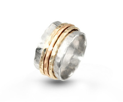 Silver Spinning Ring with 3 Gold Filled Bands.