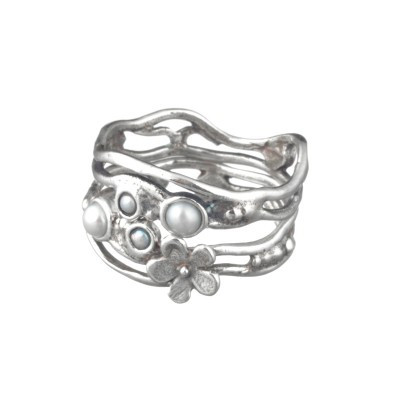 Flower Silver Stack Ring with Pearl