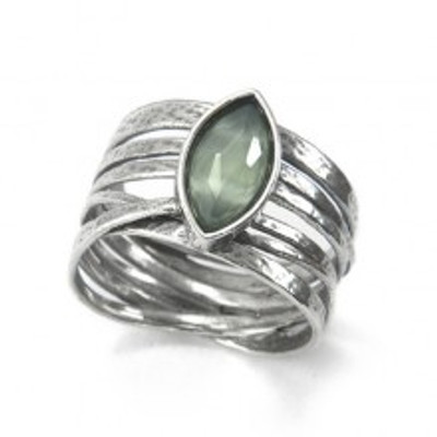 Silver Ring with Synthetic Apple Ouartz