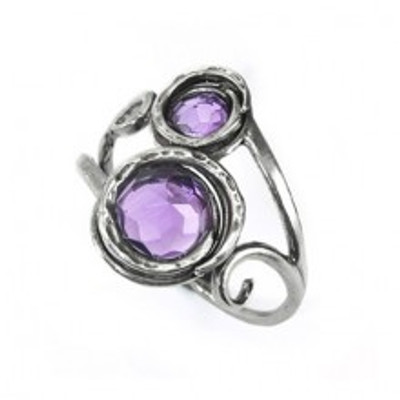 Silver Ring with Amethyst, 8 mm, 5 mm