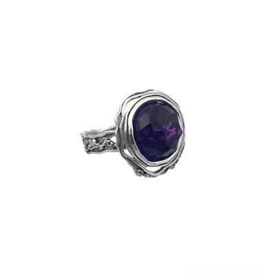 Silver Ring with lab Amethyst, 8 mm.  *Lab created Amethyst