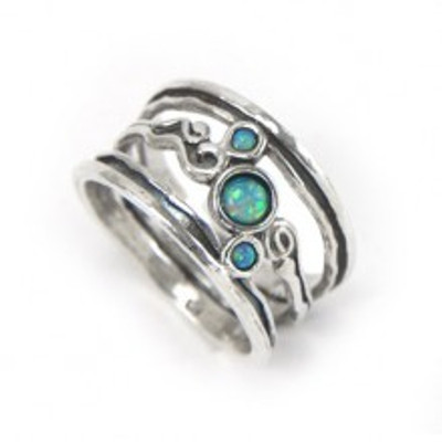 Silver Ring with Opals, 4 mm, 2 mm