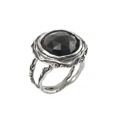 Silver Ring with Smoky Quartz, 14 mm