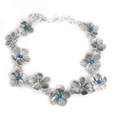 Silver Flowers Bracelet with Opals, 2 mm