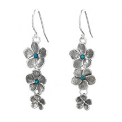 Silver Flowers Earrings with Opals, 2 mm