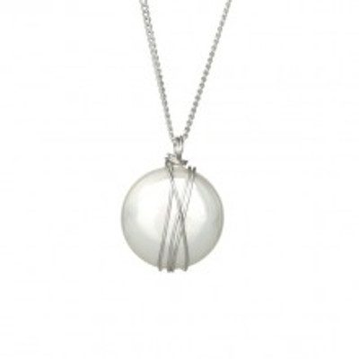 Silver Necklace with Coin Majorca Pearl, 18 mm.