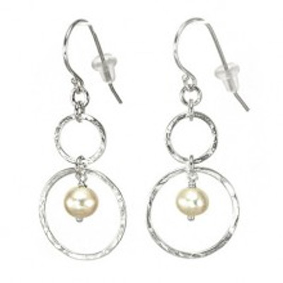 Silver earrings with pearls, 6 mm. Hoops diameters: 18 mm, 9 mm.
