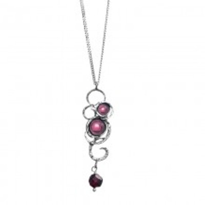 Silver Necklace with Garnets, 7 mm, 6 mm, 5 mm. Clasp:    Spring, 6 mm. Pendant Height:  45 mm.
