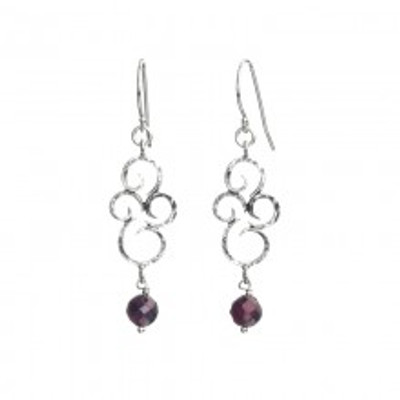 Silver Earrings with Garnet, 6 mm. Height:  33 mm. Width:  13 mm.