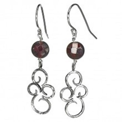 Silver Earrings with Garnet, 8 mm