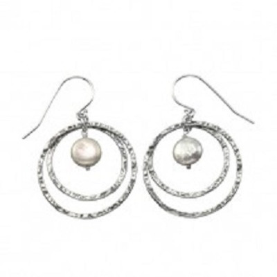 Silver Hoops Earrings with Pearls, 8 mm.