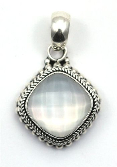Sterling Silver Faceted Quartz over Mother of Pearl Pendant