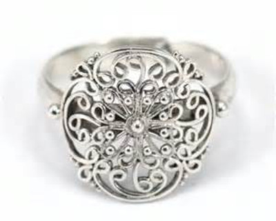 "Sterling Silver Round Bali ""Filigree"" Ring"