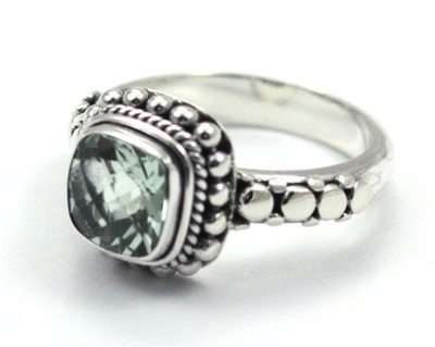 Sterling Silver 8mm Green Amethyst Ring.  Available with matching items: JP.0002 and JB.0008