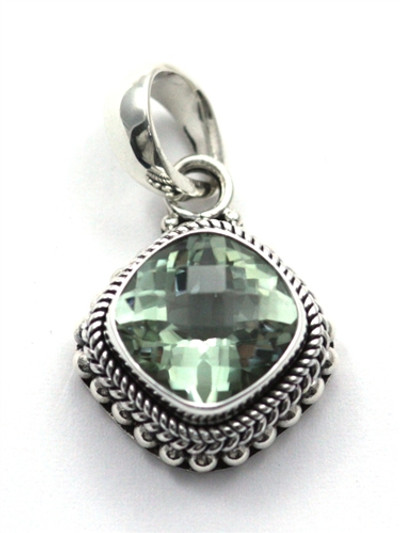 Sterling Silver 12mm Green Amethyst Pendant
