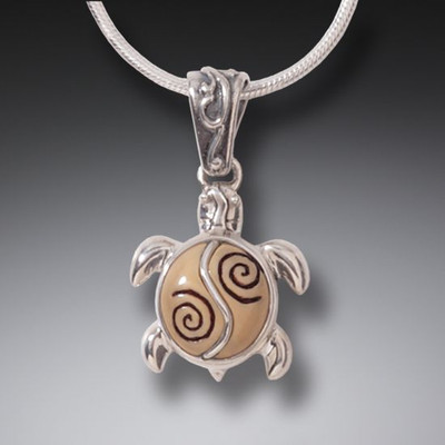 Sterling Silver and Ivory Baby Turtle Pendant