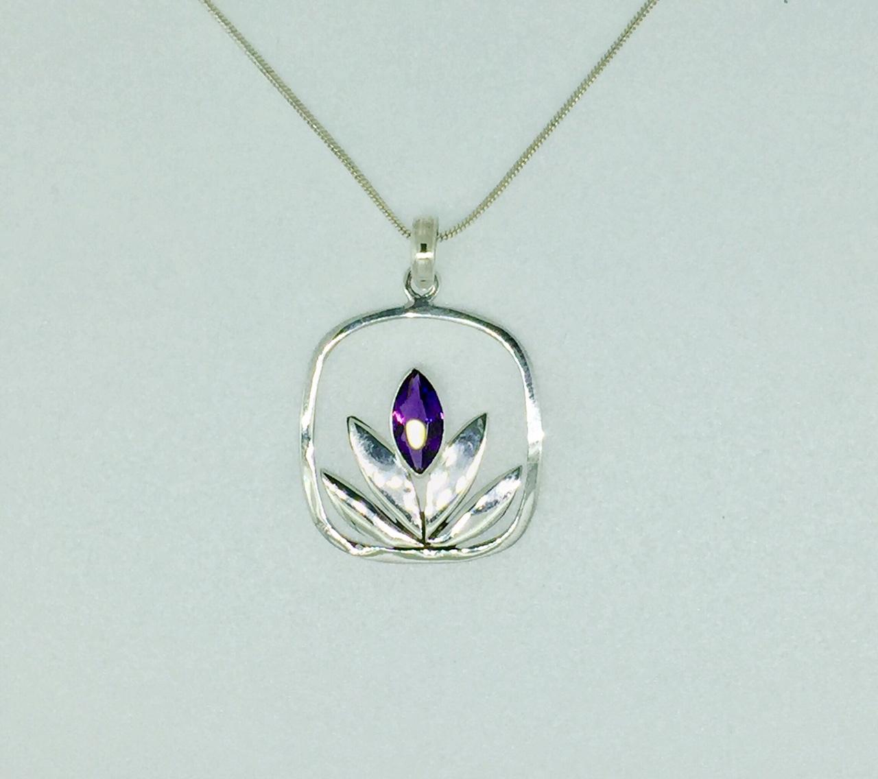6e57fa438 Amethyst Lotus Flower Sterling Silver Necklace - Mima's Of Warwick, LLC