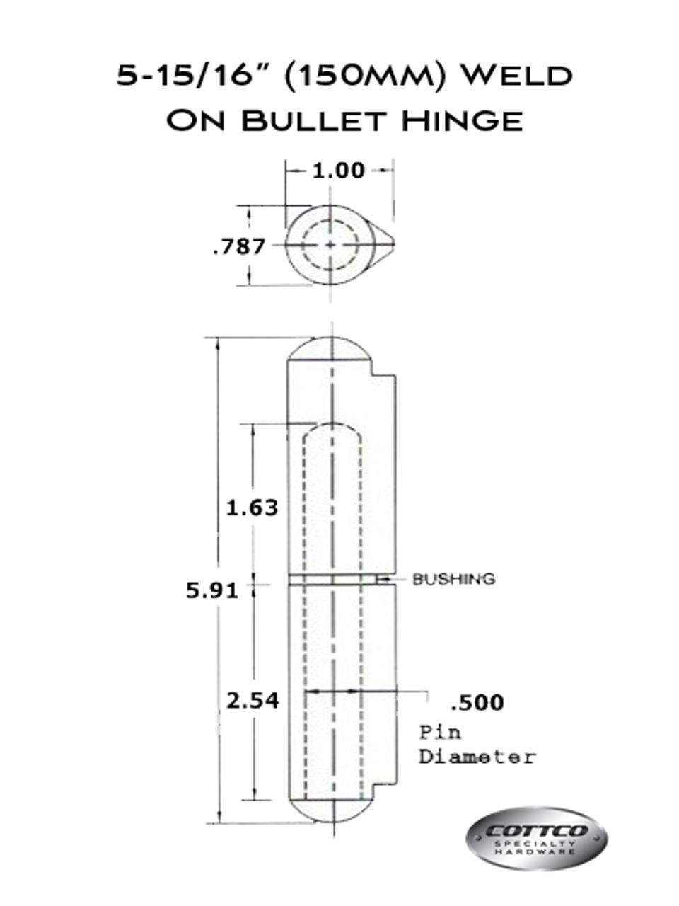 150mm Aluminum Weld On Bullet Hinge Schematic