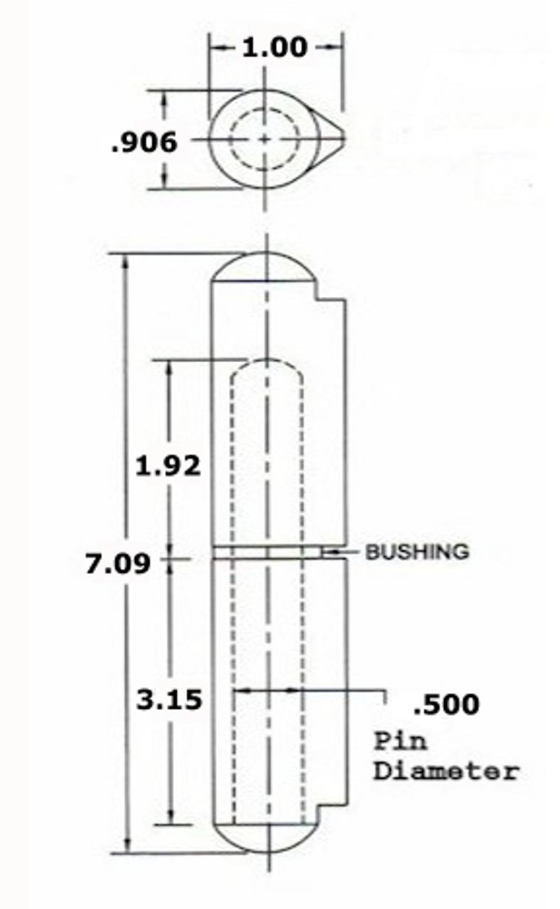 AFSSP 180 Aluminum Weld On Hinge Schematic