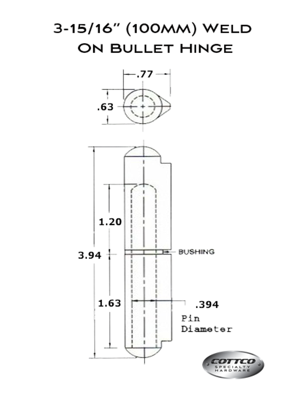 FSP-100-G/F Weld On Bullet Hinge Schematic
