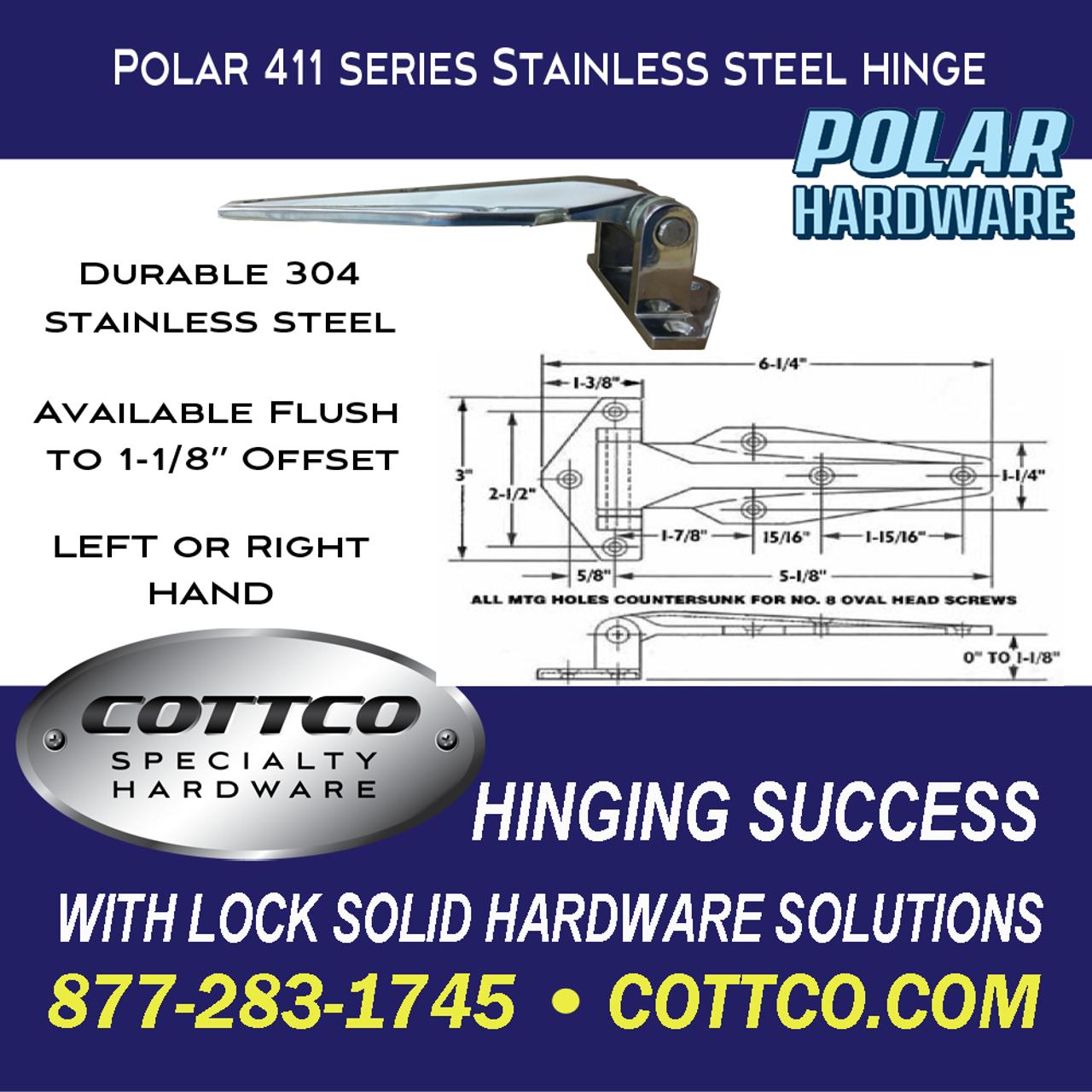 Polar Hardware 411 Flush Refrigeration Hinge