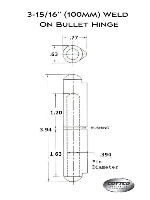 "3-15/16"" Weld On Bullet Hinge Schematic"