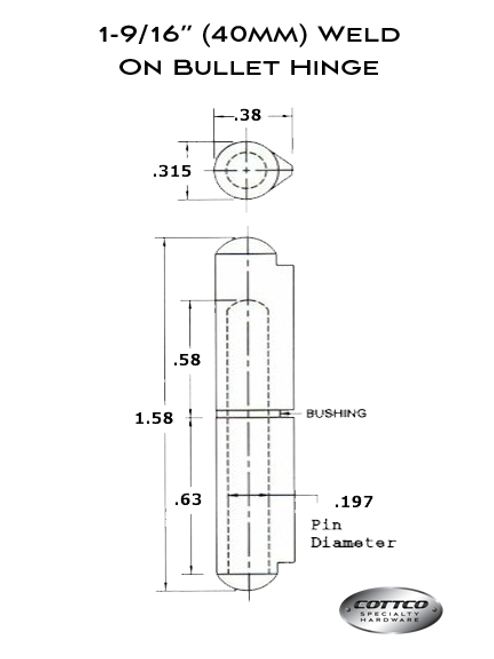 FSP-040 Weld On Bullet Hinge Schematic