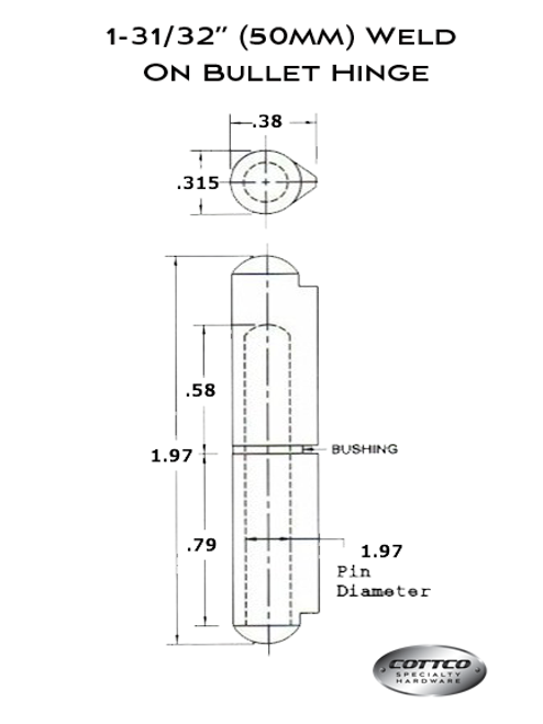 FSP-050 Weld On Bullet Hinge Schematic