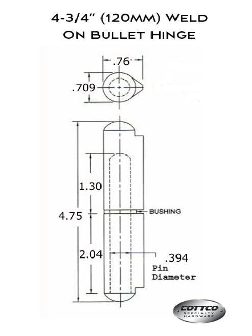 FSP-120 Weld On Bullet Hinge Schematic