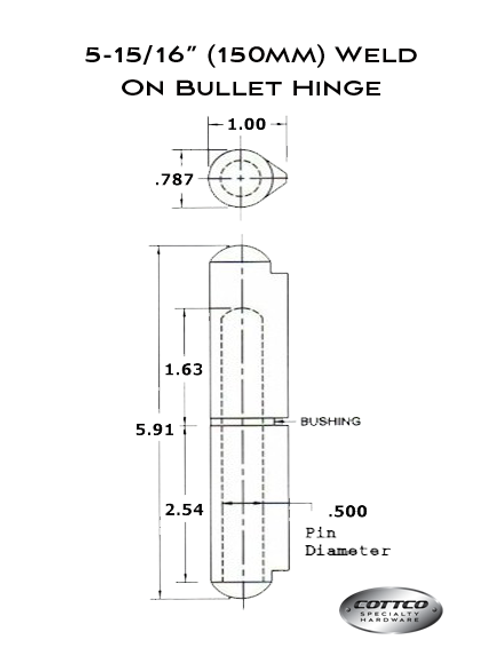 FSP-150-G/F Weld On Bullet Hinge Schematic