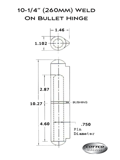 FSP-260-GF Weld On Hinge Schematic