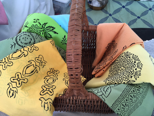 Cotton Block Printed Square Tablecloths